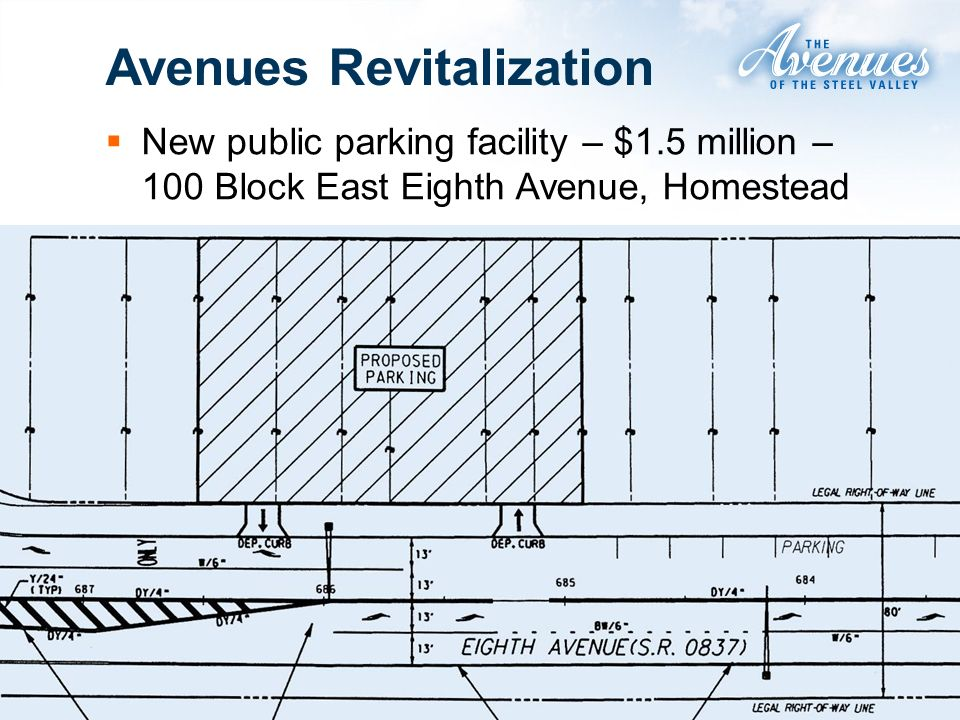 Avenues Revitalization New public parking facility – $1.5 million – 100 Block East Eighth Avenue, Homestead