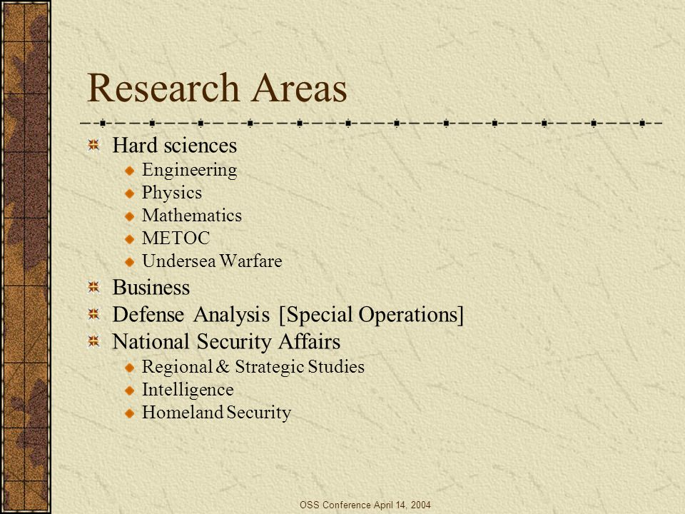 OSS Conference April 14, 2004 Research Areas Hard sciences Engineering Physics Mathematics METOC Undersea Warfare Business Defense Analysis [Special O