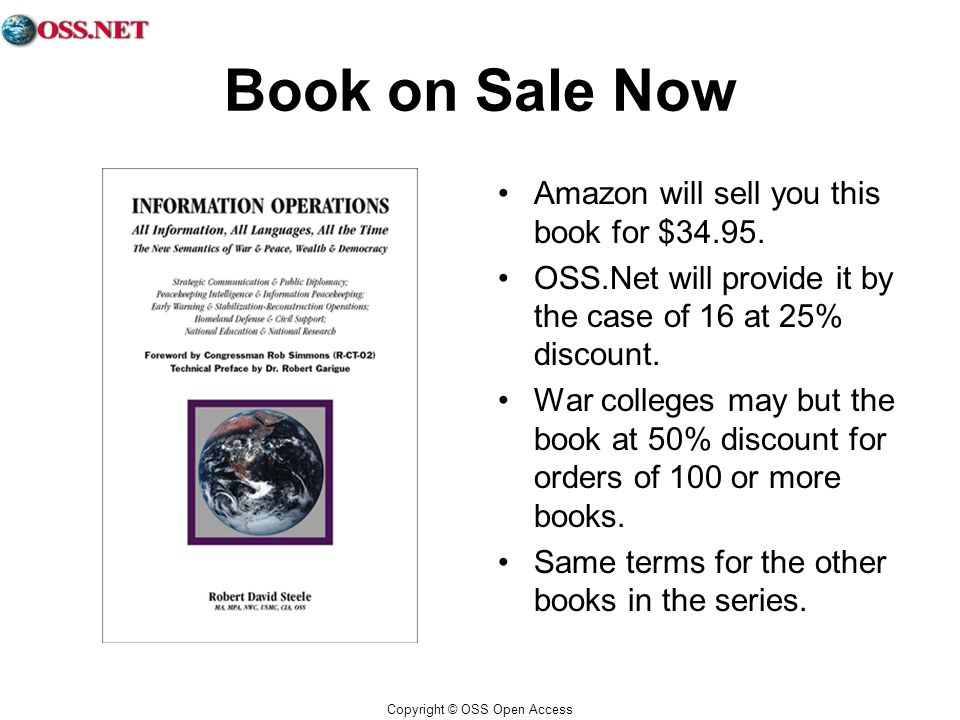 Copyright © OSS Open Access Book on Sale Now Amazon will sell you this book for $34.95.
