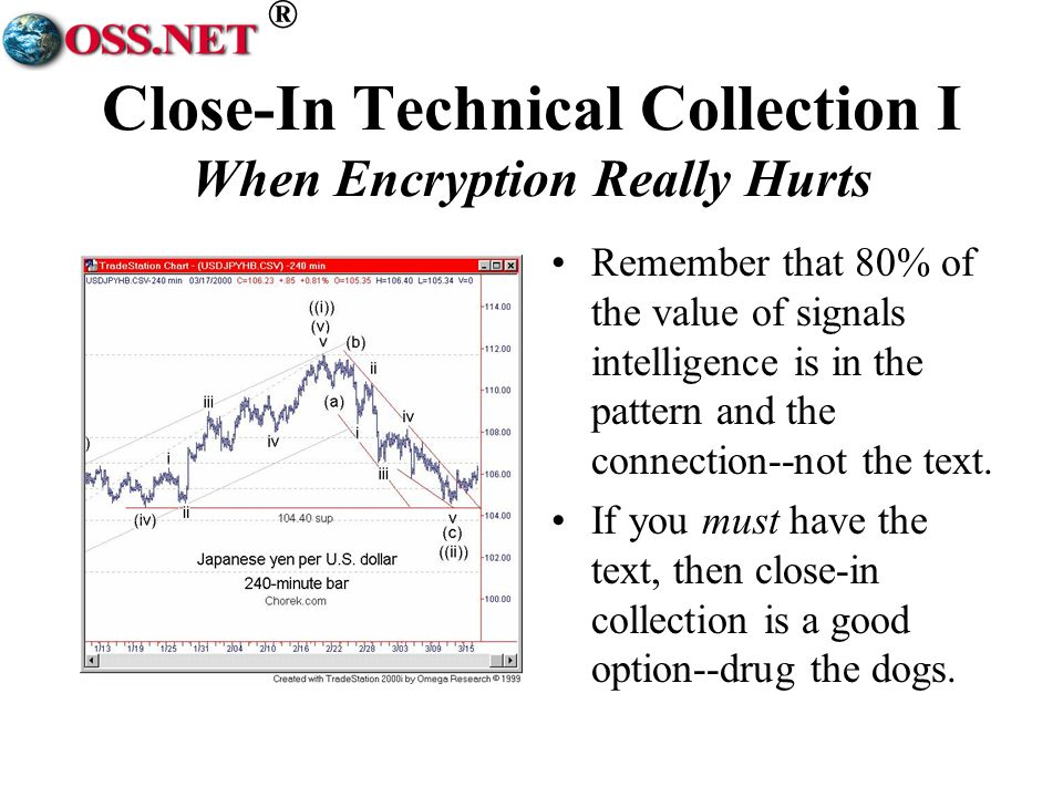 ® Close-In Technical Collection I When Encryption Really Hurts Remember that 80% of the value of signals intelligence is in the pattern and the connection--not the text.
