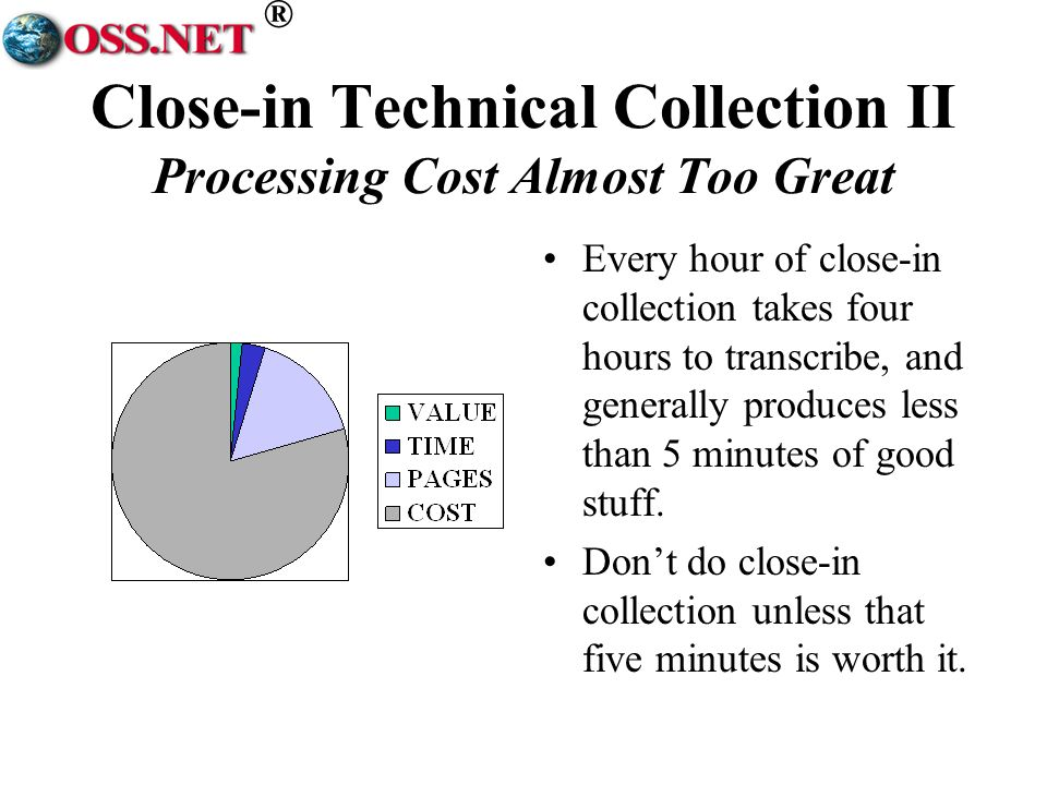 ® Close-in Technical Collection II Processing Cost Almost Too Great Every hour of close-in collection takes four hours to transcribe, and generally produces less than 5 minutes of good stuff.