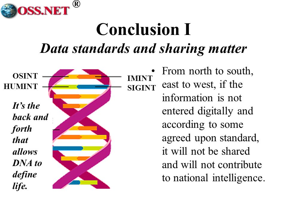 ® Conclusion I Data standards and sharing matter Its the back and forth that allows DNA to define life.
