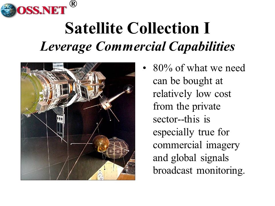 ® Satellite Collection I Leverage Commercial Capabilities 80% of what we need can be bought at relatively low cost from the private sector--this is es