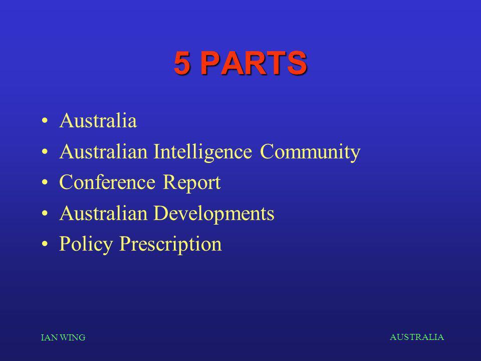 AUSTRALIA IAN WING 5 PARTS Australia Australian Intelligence Community Conference Report Australian Developments Policy Prescription