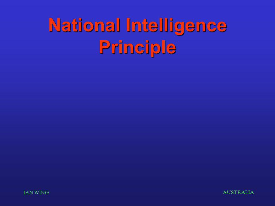 AUSTRALIA IAN WING National Intelligence Principle