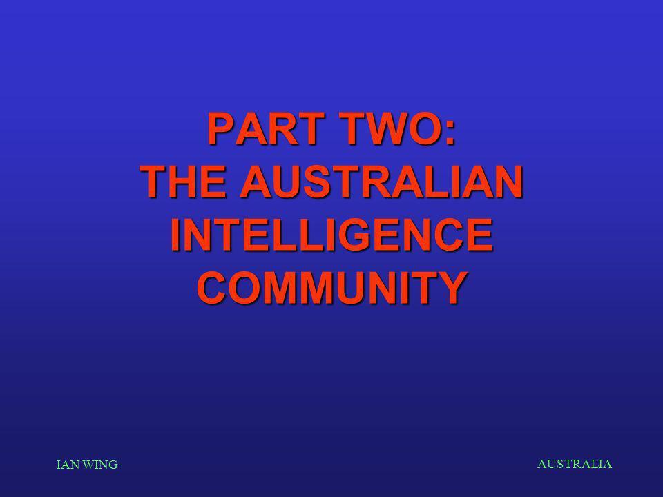 AUSTRALIA IAN WING PART TWO: THE AUSTRALIAN INTELLIGENCE COMMUNITY