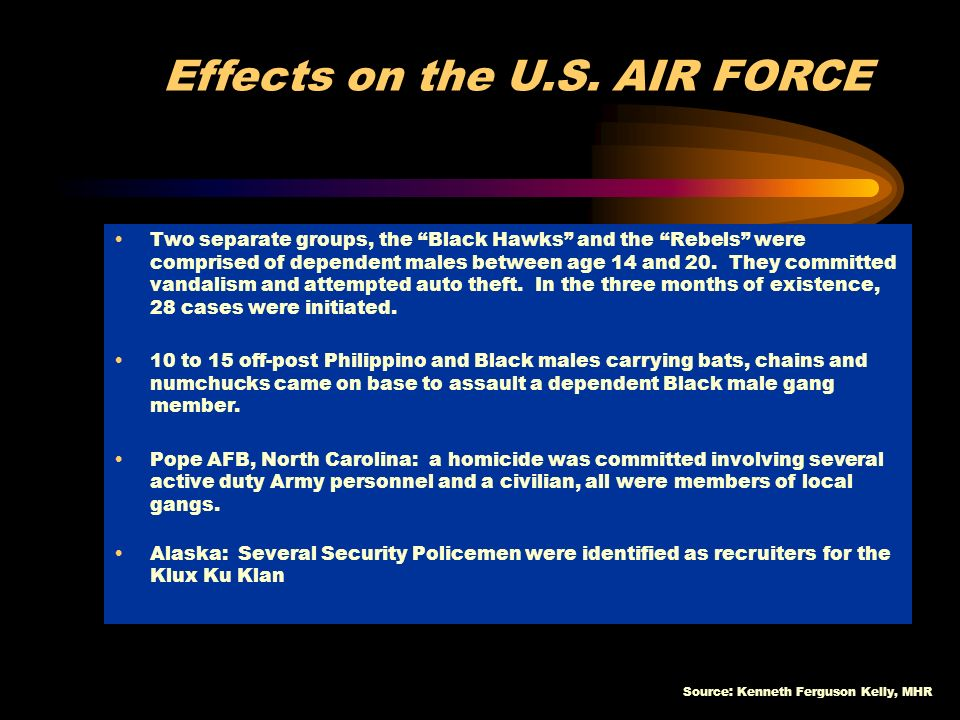 Source: Kenneth Ferguson Kelly, MHR Effects on the U.S. AIR FORCE Two separate groups, the Black Hawks and the Rebels were comprised of dependent male