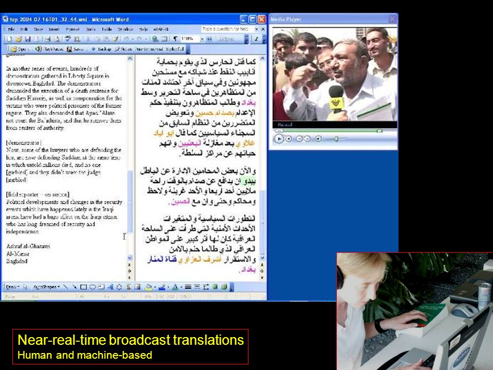 Near-real-time broadcast translations Human and machine-based