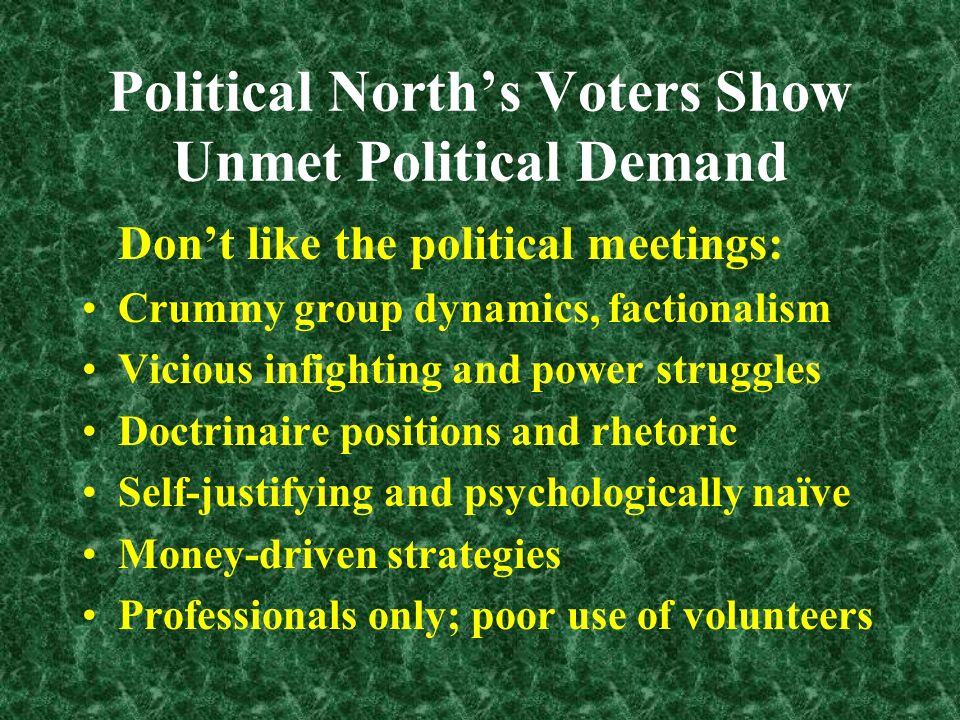 Political Norths Voters Show Unmet Political Demand Unimpressed with the old pols: Inauthentic, psychologically primitive: Too much blaming, shaming, posturing, hatred/conflict-driven, violence imagery Bereft of innovative, or win-win ideas Macho, not women-friendly, emotionally undeveloped, spiritually empty Nationalistic rather than planet-oriented