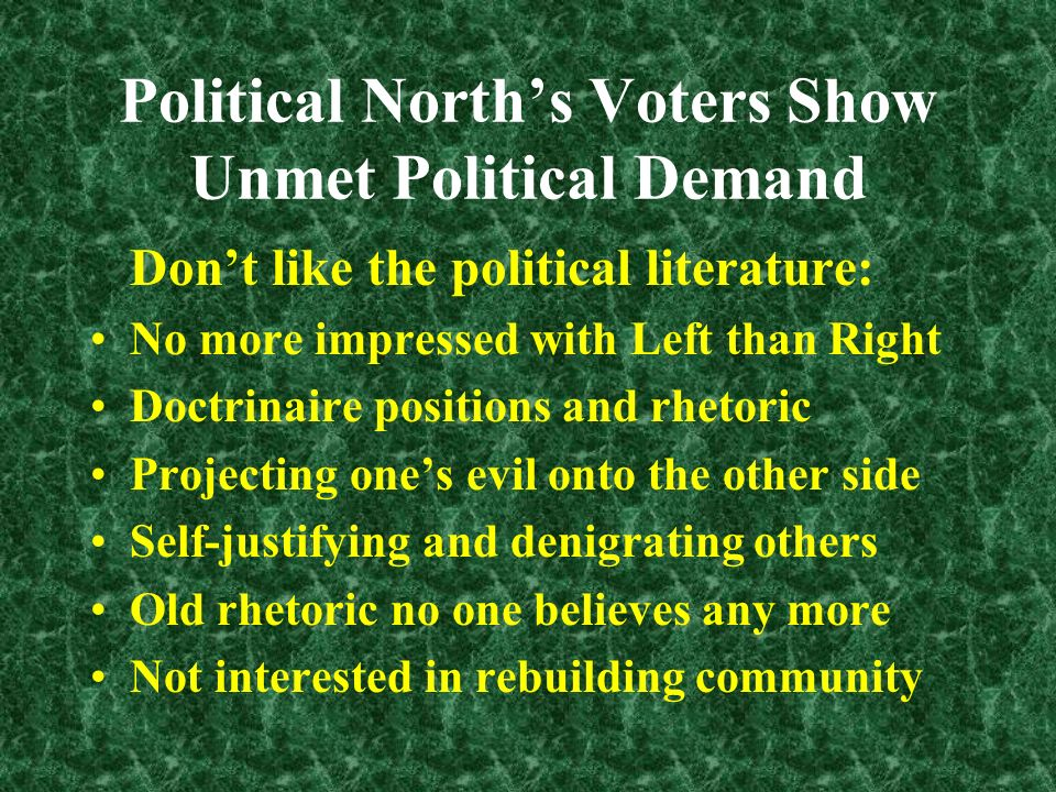 Political Norths Voters Show Unmet Political Demand Dont like the political meetings: Crummy group dynamics, factionalism Vicious infighting and power struggles Doctrinaire positions and rhetoric Self-justifying and psychologically naïve Money-driven strategies Professionals only; poor use of volunteers