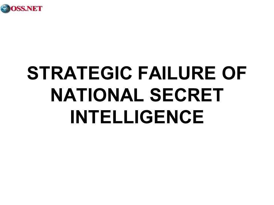 STRATEGIC FAILURE OF NATIONAL SECRET INTELLIGENCE
