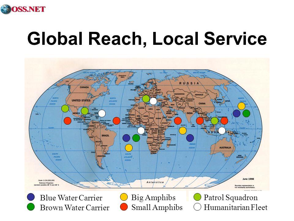 Global Reach, Local Service Blue Water Carrier Brown Water Carrier Big Amphibs Small Amphibs Patrol Squadron Humanitarian Fleet