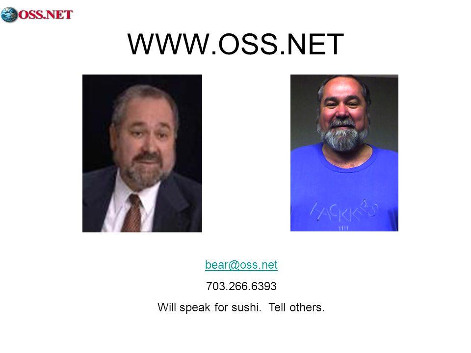 WWW.OSS.NET bear@oss.net 703.266.6393 Will speak for sushi. Tell others.