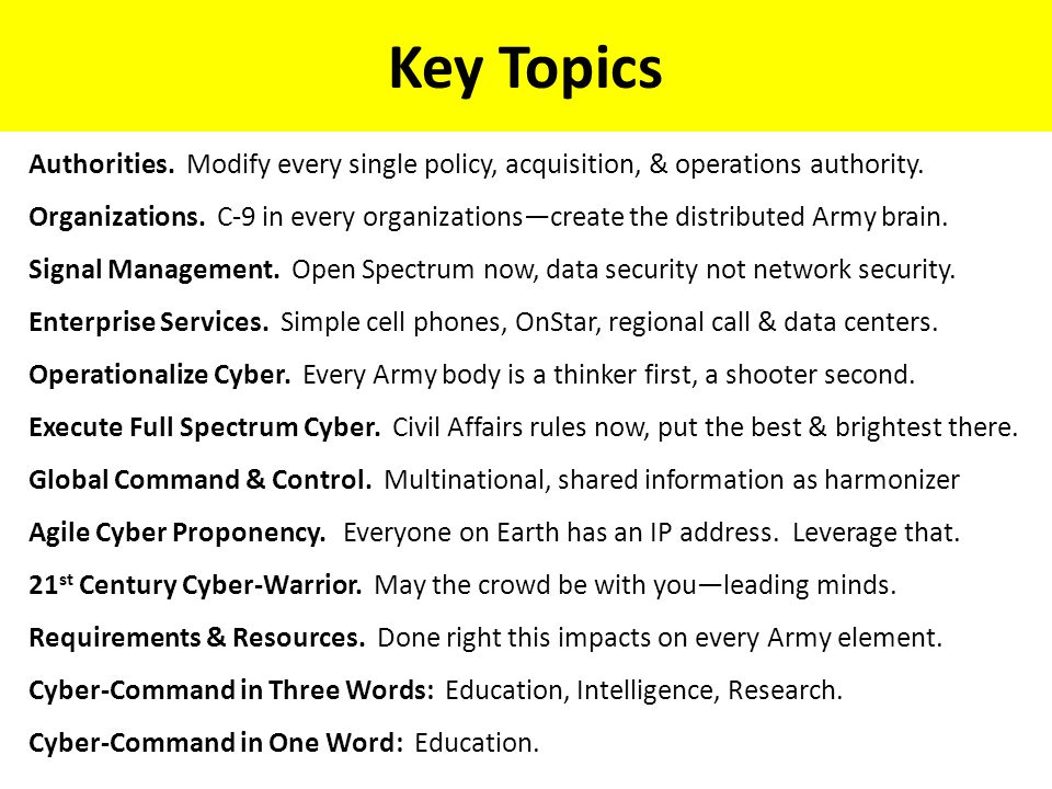 Key Topics Authorities.Modify every single policy, acquisition, & operations authority.
