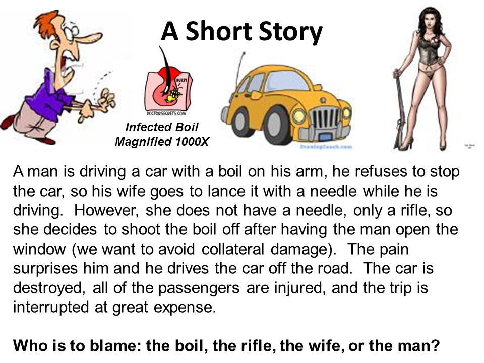 A Short Story A man is driving a car with a boil on his arm, he refuses to stop the car, so his wife goes to lance it with a needle while he is drivin