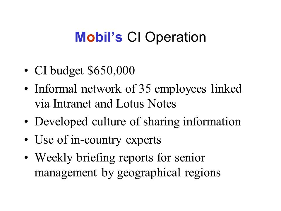 Mobils CI Operation CI budget $650,000 Informal network of 35 employees linked via Intranet and Lotus Notes Developed culture of sharing information Use of in-country experts Weekly briefing reports for senior management by geographical regions
