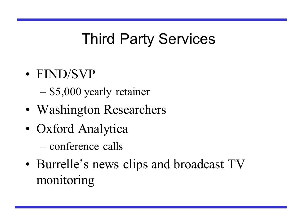 Third Party Services FIND/SVP –$5,000 yearly retainer Washington Researchers Oxford Analytica –conference calls Burrelles news clips and broadcast TV monitoring