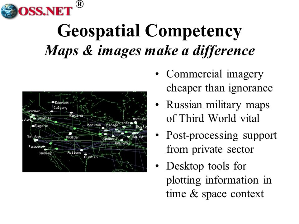 ® Geospatial Competency Maps & images make a difference Commercial imagery cheaper than ignorance Russian military maps of Third World vital Post-processing support from private sector Desktop tools for plotting information in time & space context