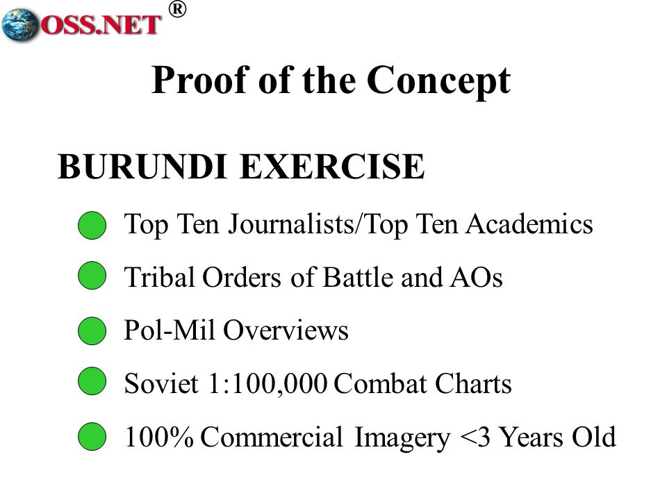 ® BURUNDI EXERCISE Top Ten Journalists/Top Ten Academics Tribal Orders of Battle and AOs Pol-Mil Overviews Soviet 1:100,000 Combat Charts 100% Commercial Imagery <3 Years Old Proof of the Concept