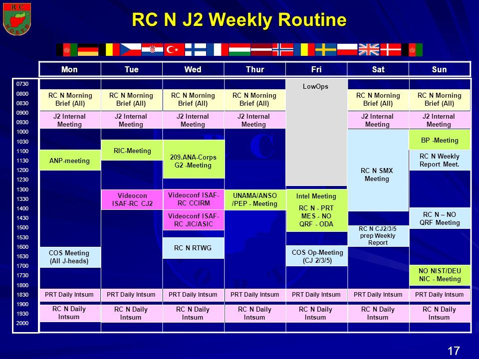 17 N R T H R C O RC N J2 Weekly Routine 0730 0800 0830 0900 0930 1000 1030 1100 1130 1200 1230 1300 1330 1400 1430 1500 1530 1600 1630 1700 1730 1800
