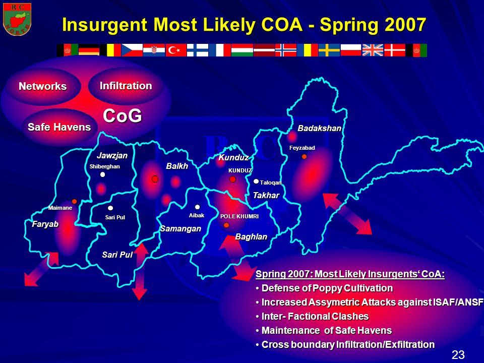 23 N R T H R C O Insurgent Most Likely COA - Spring 2007 Insurgent Most Likely COA - Spring 2007 Taloqan Aibak POLE KHUMRI Sari Pul Shiberghan Faryab