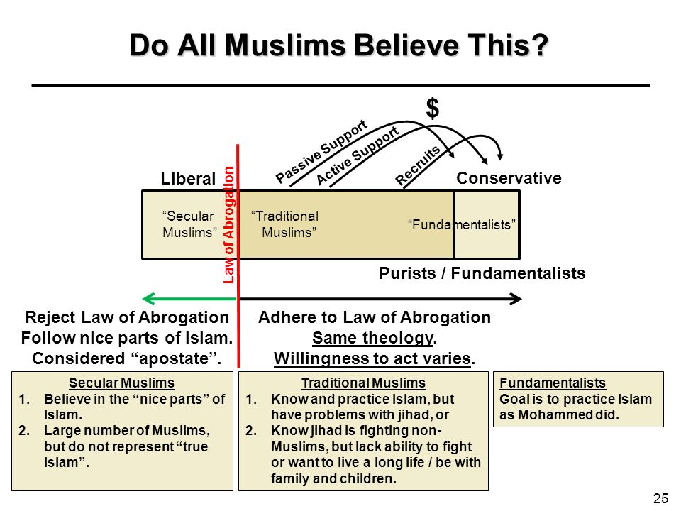 Do All Muslims Believe This? 25 Liberal Conservative Adhere to Law of Abrogation Same theology. Willingness to act varies. Purists / Fundamentalists A