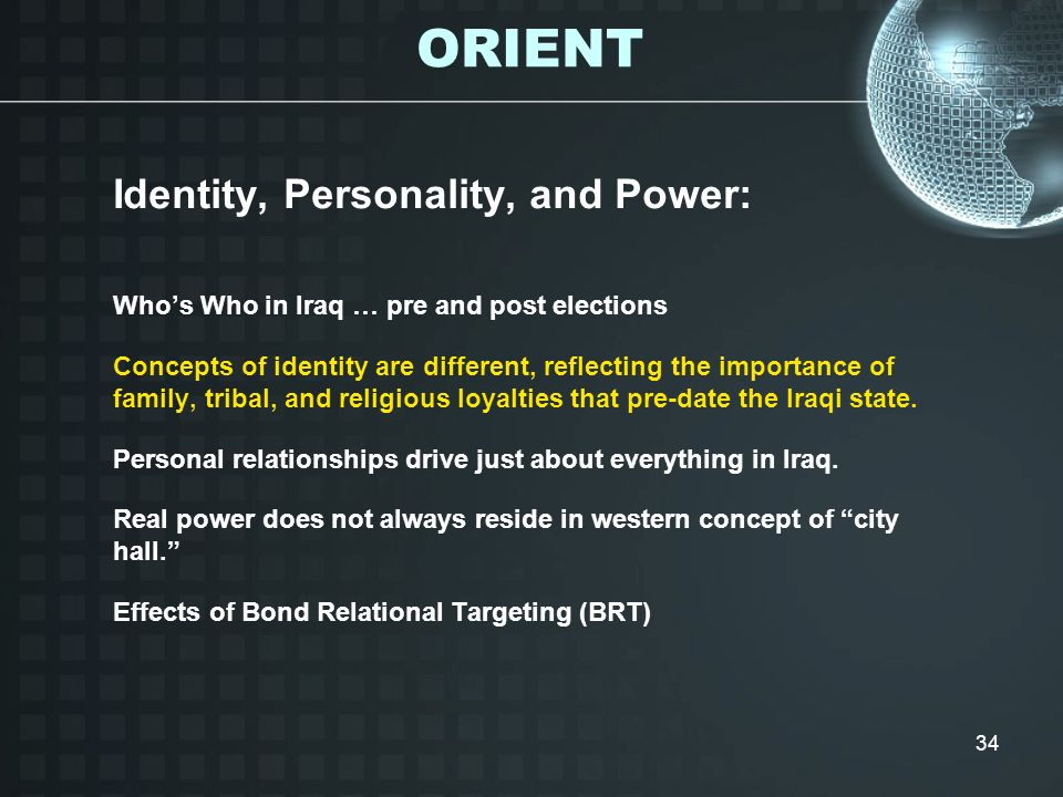 34 Identity, Personality, and Power: Whos Who in Iraq … pre and post elections Concepts of identity are different, reflecting the importance of family