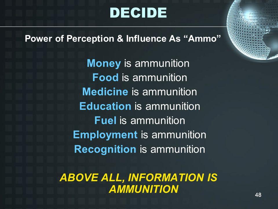 48 Money is ammunition Food is ammunition Medicine is ammunition Education is ammunition Fuel is ammunition Employment is ammunition Recognition is am