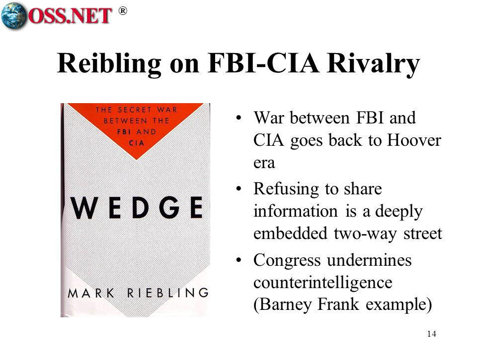 ® 14 Reibling on FBI-CIA Rivalry War between FBI and CIA goes back to Hoover era Refusing to share information is a deeply embedded two-way street Con