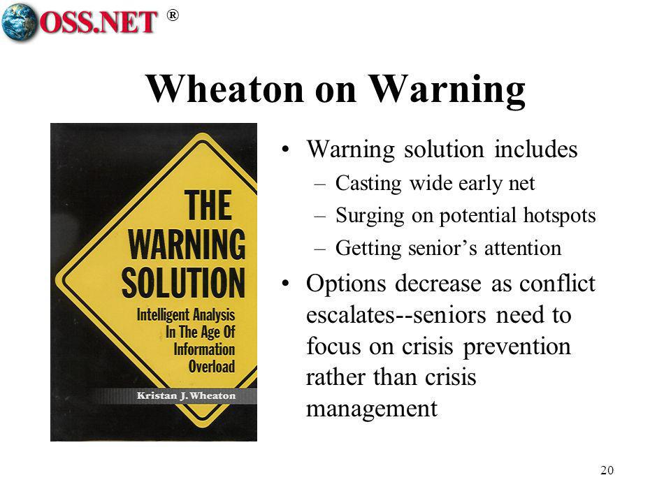 ® 20 Wheaton on Warning Warning solution includes –Casting wide early net –Surging on potential hotspots –Getting seniors attention Options decrease a