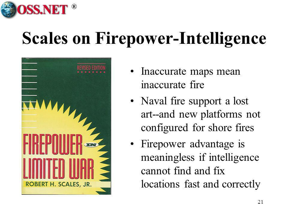 ® 21 Scales on Firepower-Intelligence Inaccurate maps mean inaccurate fire Naval fire support a lost art--and new platforms not configured for shore f