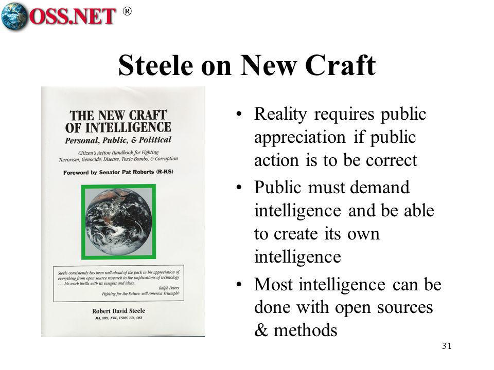® 31 Steele on New Craft Reality requires public appreciation if public action is to be correct Public must demand intelligence and be able to create