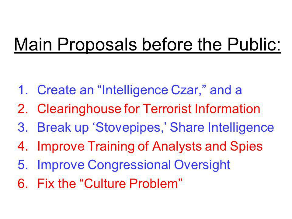 Main Proposals before the Public: 1.Create an Intelligence Czar, and a 2.Clearinghouse for Terrorist Information 3.Break up Stovepipes, Share Intelligence 4.Improve Training of Analysts and Spies 5.Improve Congressional Oversight 6.Fix the Culture Problem