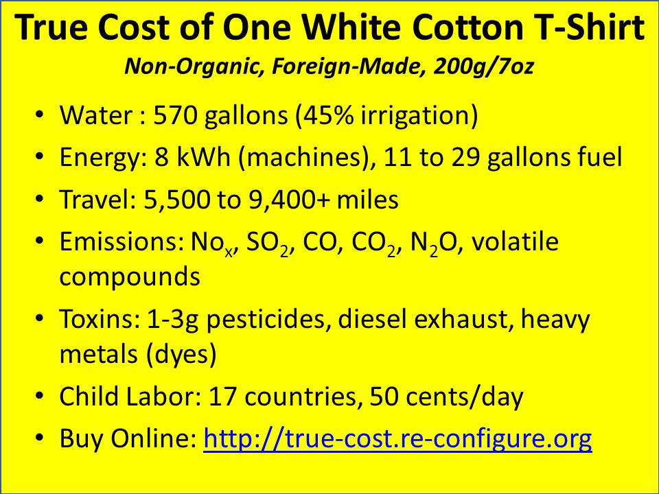 True Cost of One White Cotton T-Shirt Non-Organic, Foreign-Made, 200g/7oz Water : 570 gallons (45% irrigation) Energy: 8 kWh (machines), 11 to 29 gall