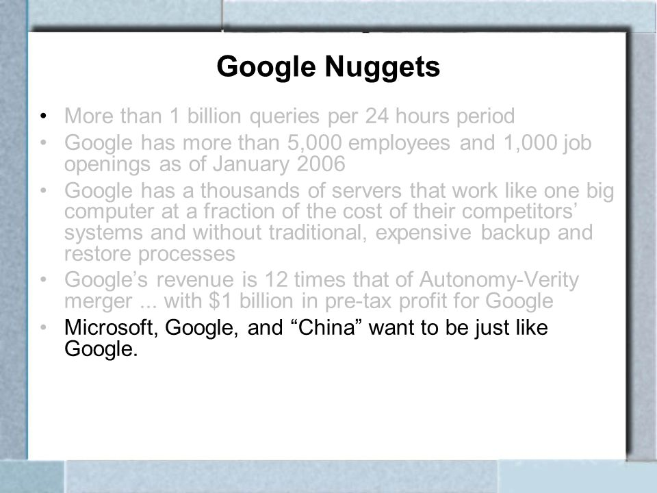 Google Nuggets More than 1 billion queries per 24 hours period Google has more than 5,000 employees and 1,000 job openings as of January 2006 Google h