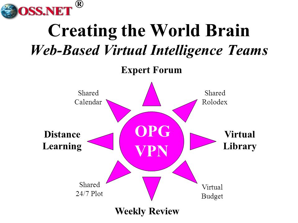 ® OPG VPN Weekly Review Expert Forum Distance Learning Virtual Library Shared Calendar Virtual Budget Shared 24/7 Plot Shared Rolodex Creating the World Brain Web-Based Virtual Intelligence Teams