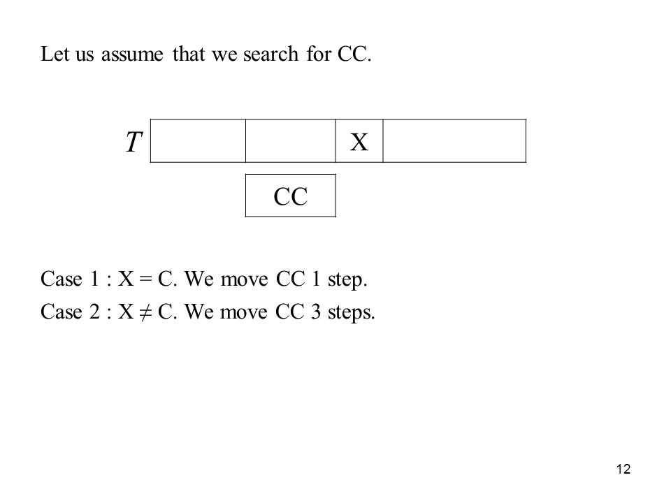 12 Let us assume that we search for CC.Case 1 : X = C.