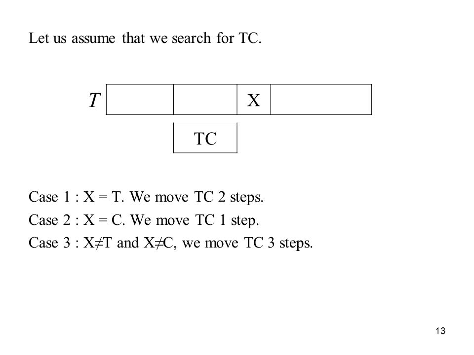 13 Let us assume that we search for TC.Case 1 : X = T.