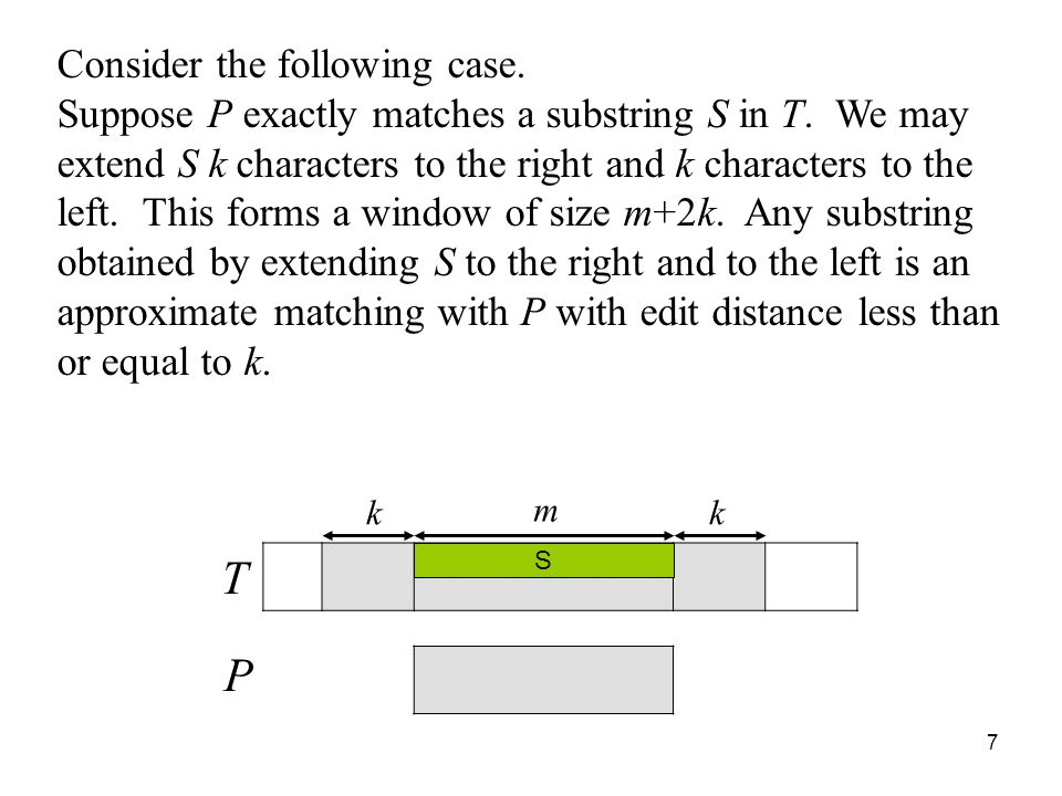 7 Consider the following case.Suppose P exactly matches a substring S in T.