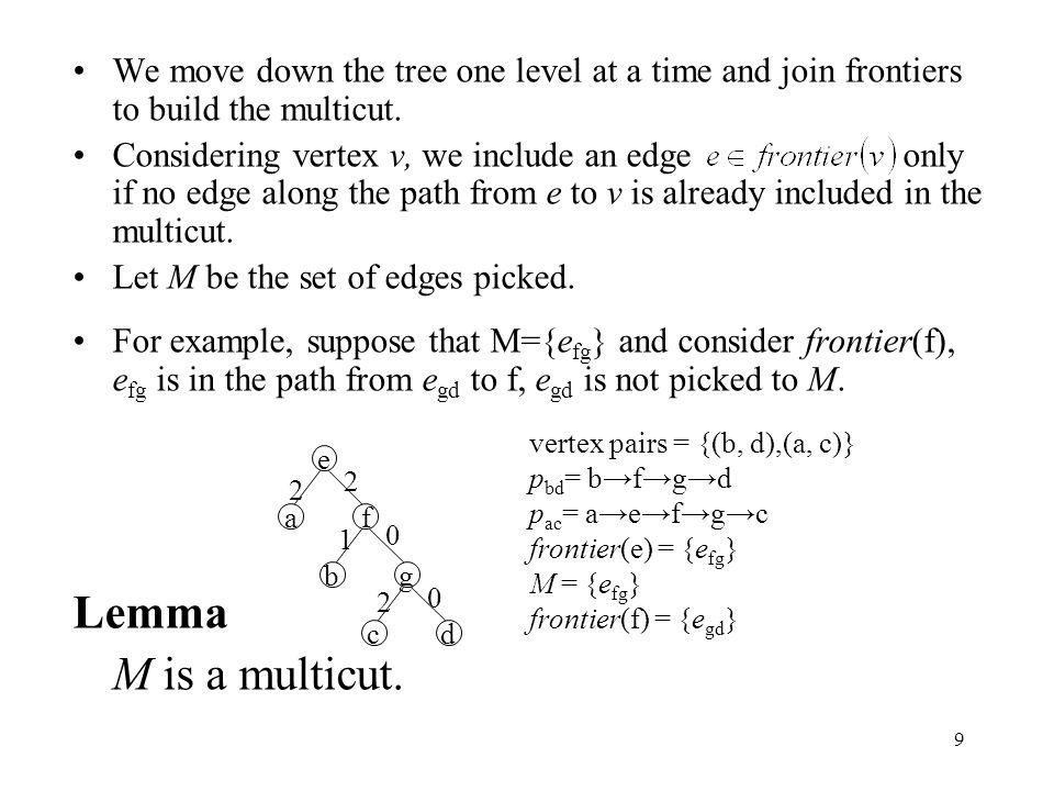 9 We move down the tree one level at a time and join frontiers to build the multicut. Considering vertex v, we include an edge only if no edge along t
