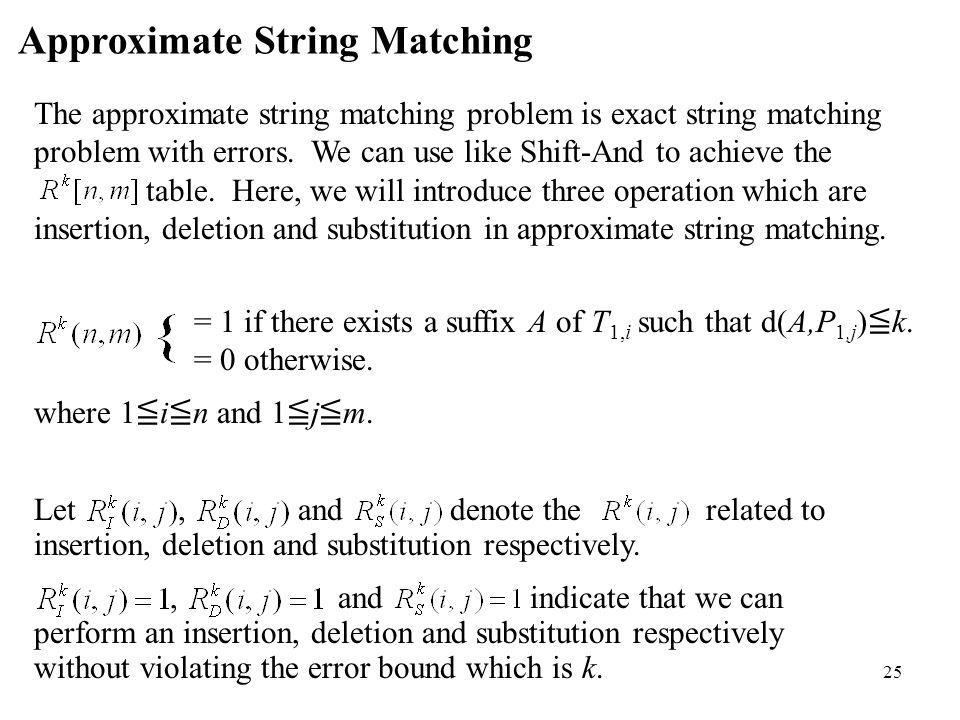 25 Approximate String Matching The approximate string matching problem is exact string matching problem with errors. We can use like Shift-And to achi