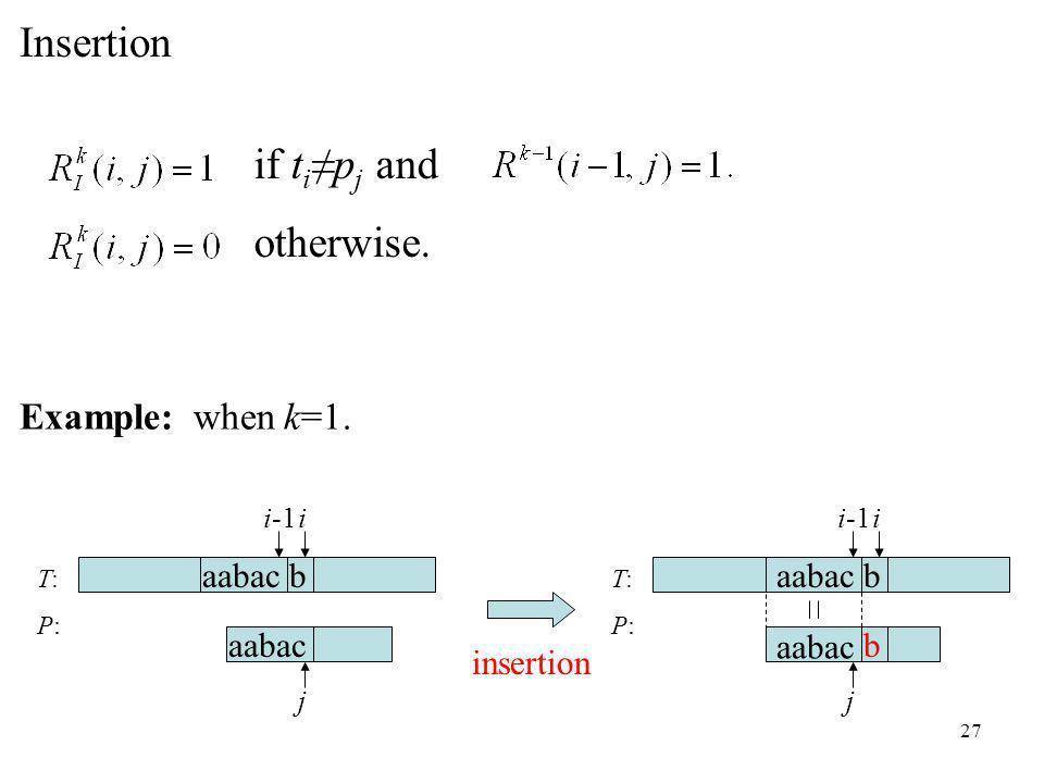 27 if t ip j and otherwise. T:P:T:P: aabac b i j i-1 Example: when k=1.