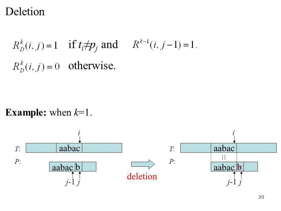 30 T:P:T:P: aabac b deletion i jj-1 Example: when k=1.