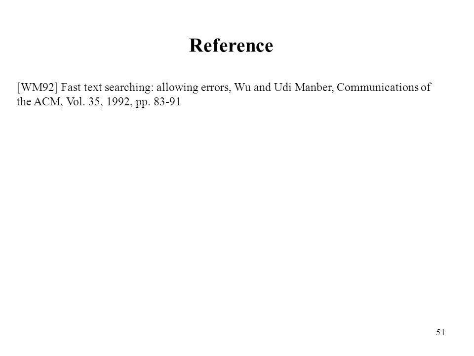 51 Reference [WM92] Fast text searching: allowing errors, Wu and Udi Manber, Communications of the ACM, Vol. 35, 1992, pp. 83-91