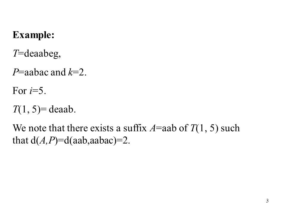 4 Example: T=deaabeg, P=aab and k=2.Consider i=5.