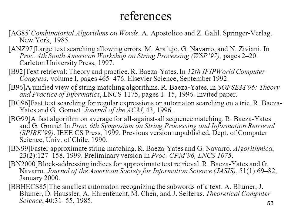 53 references [AG85]Combinatorial Algorithms on Words.
