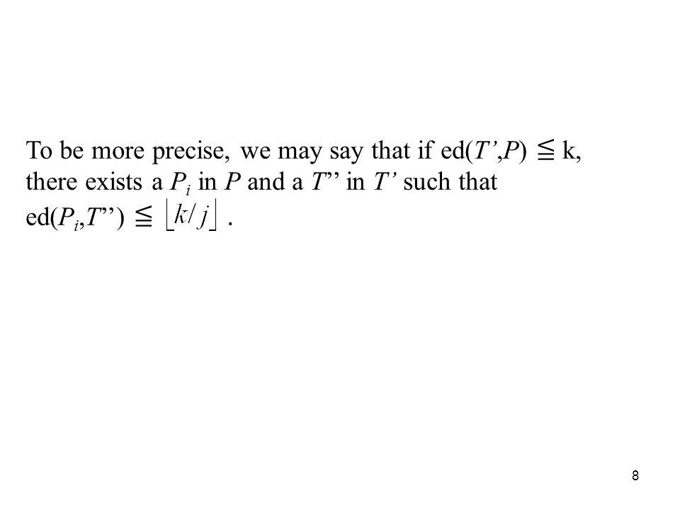 8 To be more precise, we may say that if ed(T,P) k, there exists a P i in P and a T in T such that ed(P i,T).