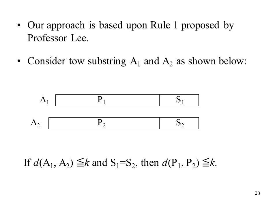 23 Our approach is based upon Rule 1 proposed by Professor Lee.