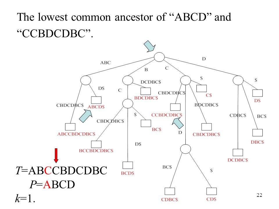 22 The lowest common ancestor of ABCD and CCBDCDBC. T=ABCCBDCDBC P=ABCD k=1.