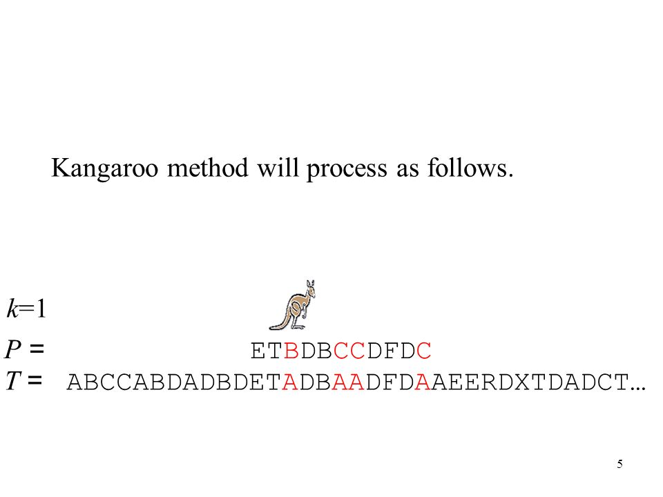 5 T = ABCCABDADBDETADBAADFDAAEERDXTDADCT… P = ETBDBCCDFDC Kangaroo method will process as follows. k=1